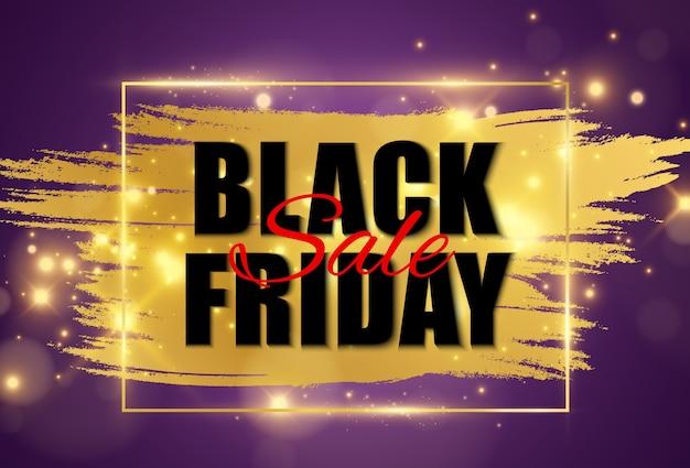 Illustrazione del banner di vendita venerdì nero su sfondo trasparente. Vettore Premium