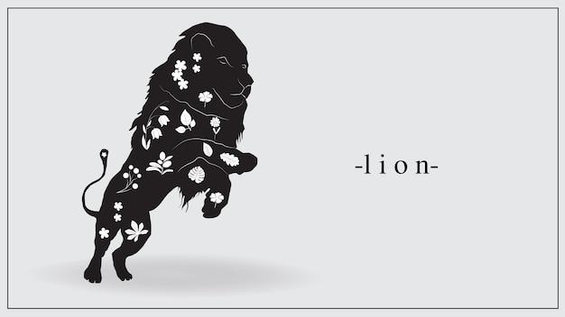 Illustrazione di un leone nero con piante bianche e fiori sul corpo Vettore Premium