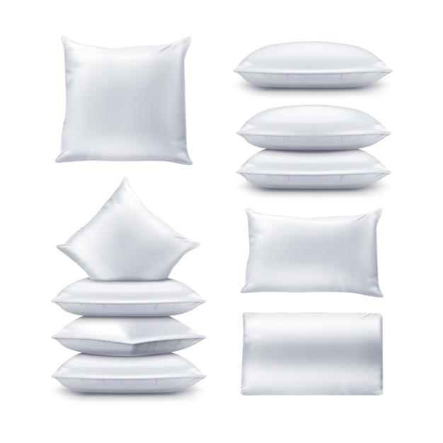 Illustrazione dei cuscini quadrati e rettangolari bianchi in bianco. set di cuscino superiore e vista frontale Vettore Premium