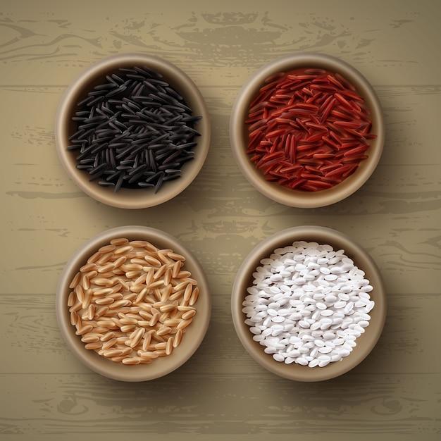 Illustrazione di ciotole con diverse varietà di riso rosso marrone bianco Vettore Premium