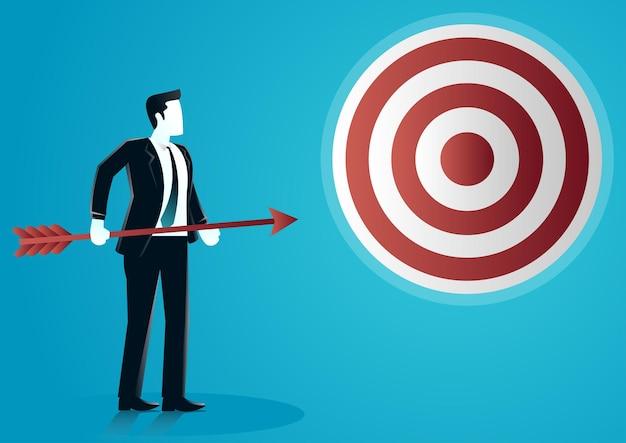 Illustrazione di una holding di uomo d'affari lancerà una freccia a bordo di destinazione. descrivere l'attività di destinazione. Vettore Premium