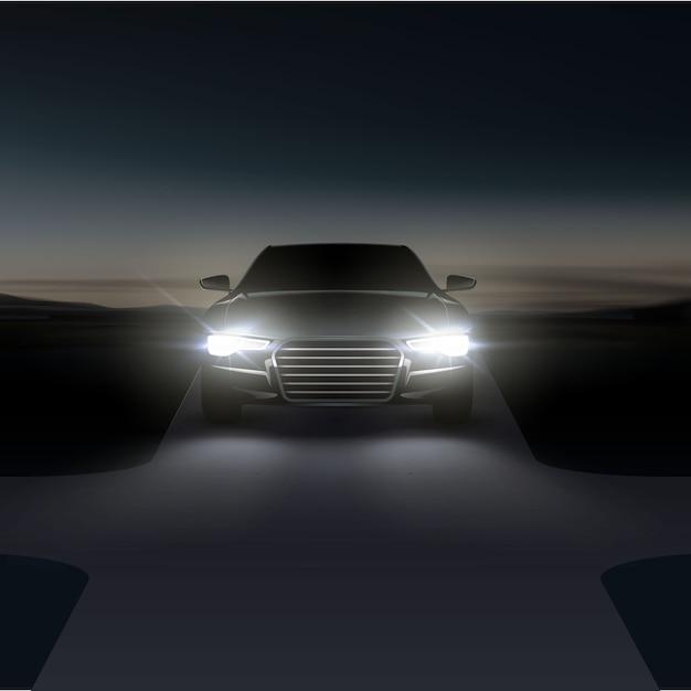 Illustrazione dei fari delle auto su strada rurale asfaltata Vettore Premium