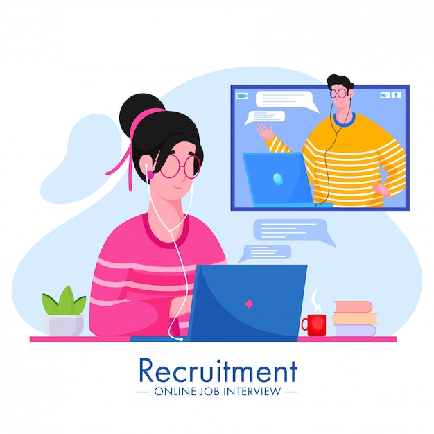 Illustrazione di cartone animato uomo e donna che prendono video chiamata a vicenda per il concetto di reclutamento di colloquio di lavoro online. Vettore Premium