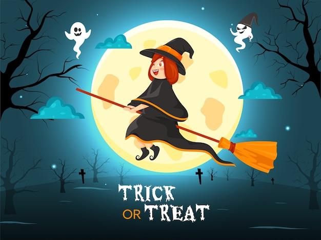 Illustrazione della strega del fumetto che vola con la sua scopa e fantasmi sulla luna piena teal sfondo blu per dolcetto o scherzetto. Vettore Premium