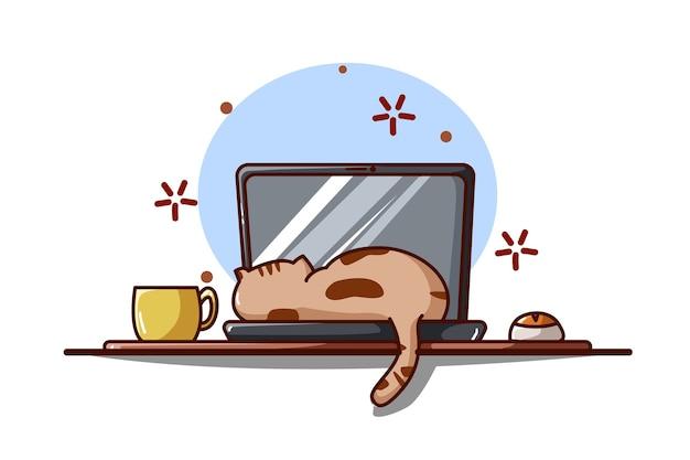 Illustrazione di un gatto che dorme su un laptop Vettore Premium