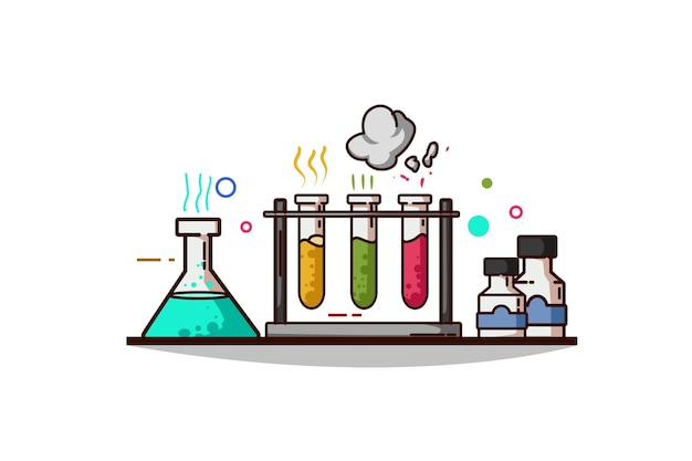 Illustrazione degli articoli chimici di chimica Vettore Premium