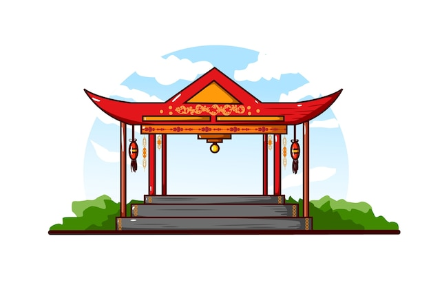 Illustrazione del gazebo cinese contro uno sfondo chiaro con cielo nuvoloso Vettore Premium