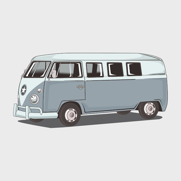 Illustrazione del classico van amper Vettore Premium