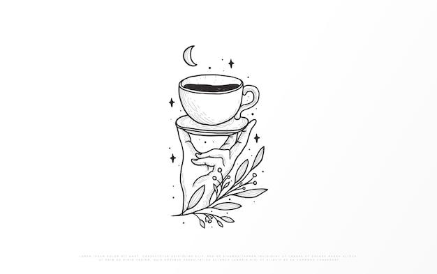 Illustrazione di una marca di caffè Vettore Premium
