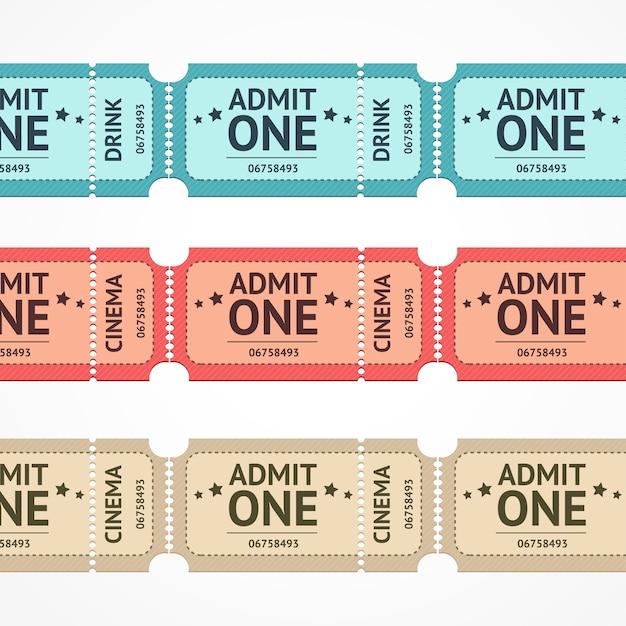 Illustrazione biglietto a colori linea impostata isolato su uno sfondo bianco. Vettore Premium