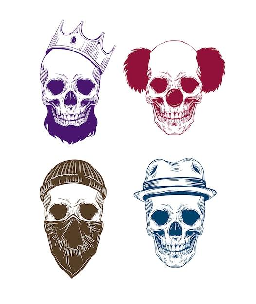 Illustrazione di teschi colorati con het Vettore Premium