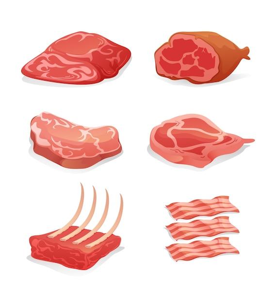 Illustrazione della raccolta di carne colorata su sfondo bianco Vettore Premium