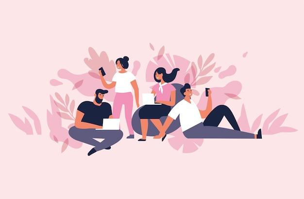 Concetto di illustrazione per lo spazio di co-working. giovani liberi professionisti che lavorano su laptop e computer. Vettore Premium