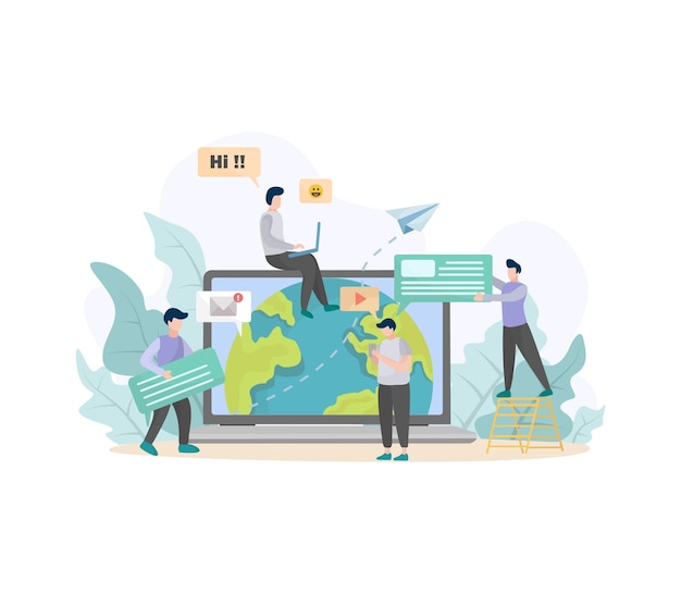Concetto di illustrazione con rete sociale e illustrazione del lavoro di squadra Vettore Premium