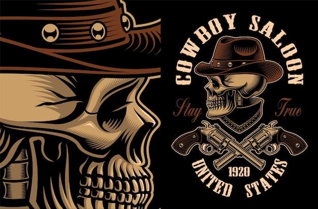 Illustrazione del cranio del cowboy con pistole incrociate. tutti gli elementi, il testo, i colori si trovano nei gruppi separati. Vettore Premium