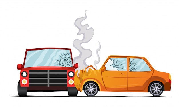 Illustrazione del veicolo incidente, danni auto. Vettore Premium