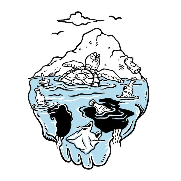 Illustrazione di tartaruga che piange intrappolata nel mare sporco Vettore Premium