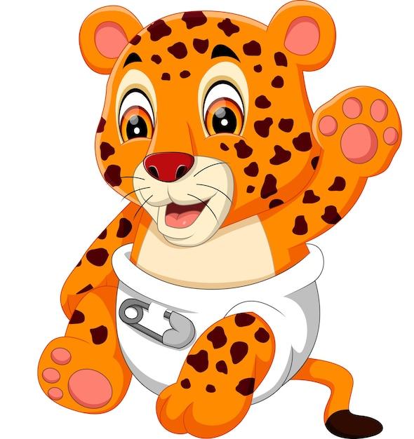 Illustrazione della cute baby tiger Vettore Premium