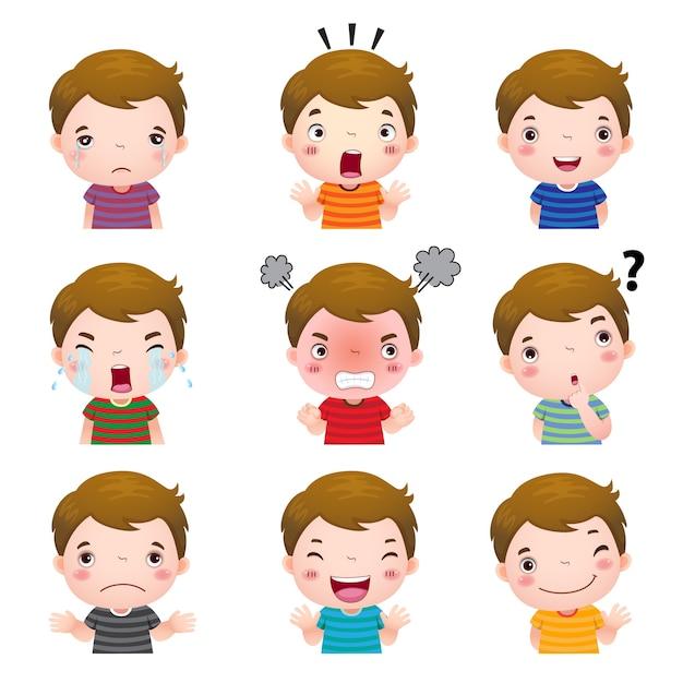 Illustrazione dei volti di ragazzo carino che mostrano emozioni diverse Vettore Premium