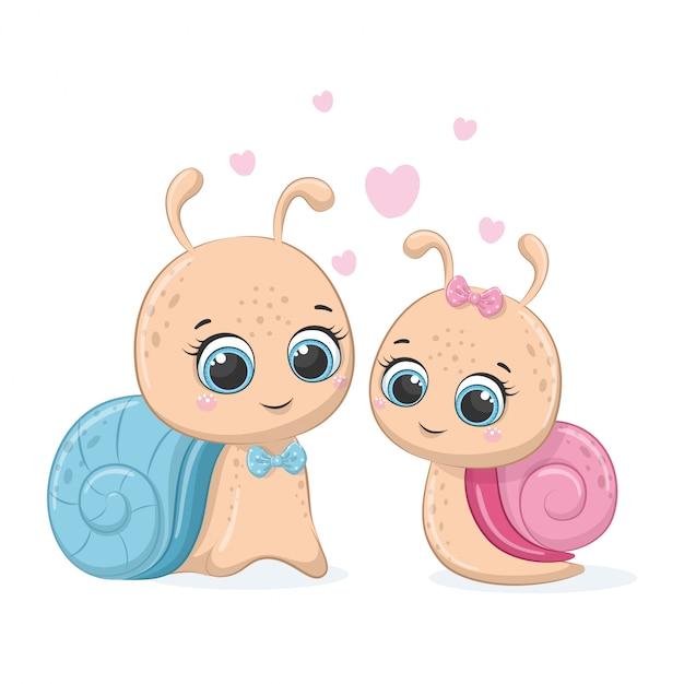 Illustrazione di lumaca simpatico cartone animato. ragazzo e ragazza. Vettore Premium