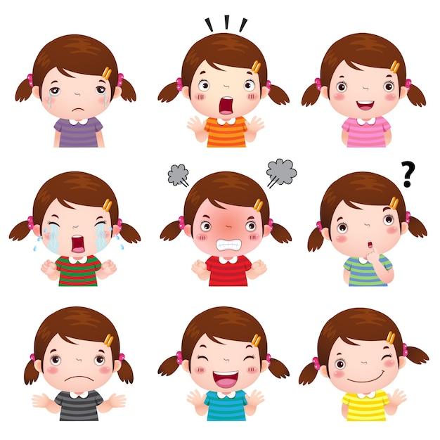 Illustrazione dei volti di ragazza carina che mostrano emozioni diverse Vettore Premium