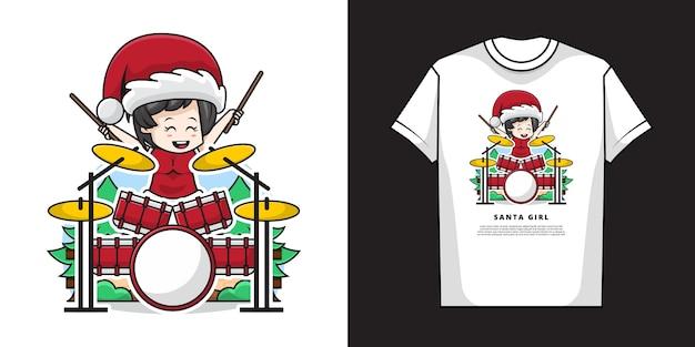 Illustrazione della ragazza carina che indossa il costume di babbo natale e suona la batteria con t-shirt design Vettore Premium