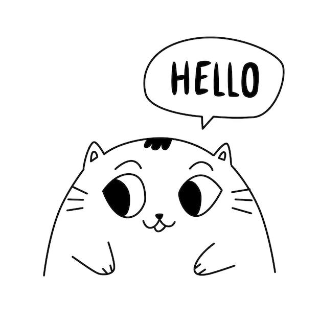 Illustrazione di un gattino carino. contorno simpatico gatto. Vettore Premium