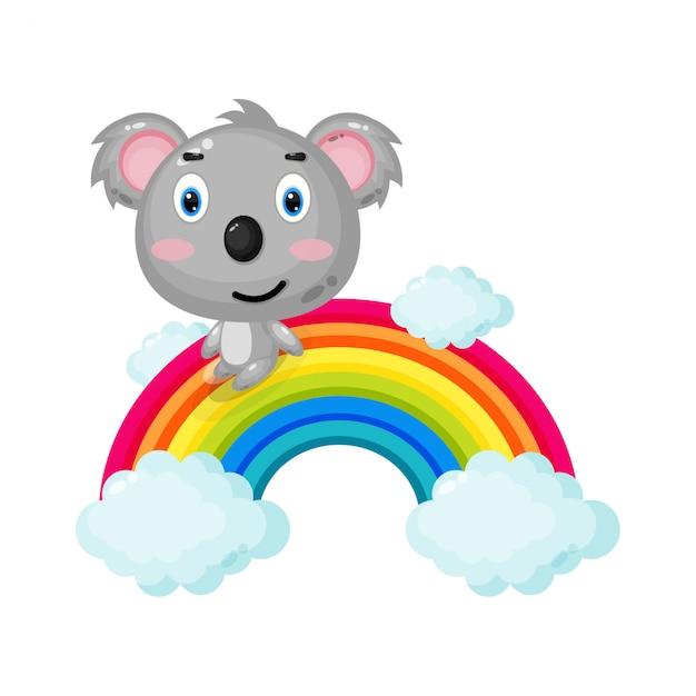 Illustrazione della koala sveglia che scivola su un arcobaleno Vettore Premium