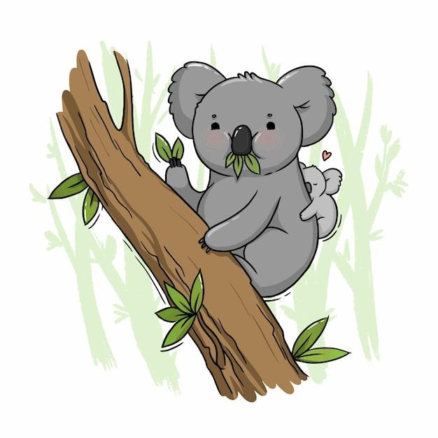 Illustrazione di un simpatico koala su un albero con un cucciolo Vettore Premium