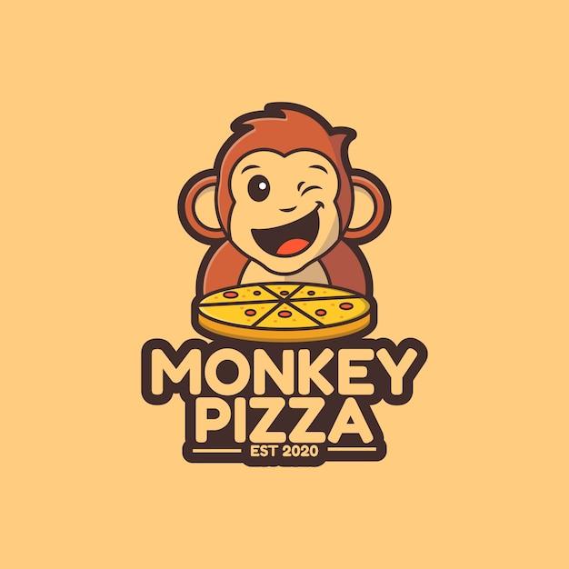 Illustrazione modello di logo pizza scimmia carino Vettore Premium