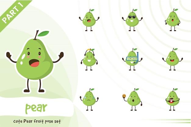 Illustrazione dell'insieme di frutta sveglio della pera Vettore Premium
