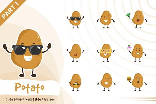 Illustrazione dell'insieme sveglio della verdura della patata Vettore Premium