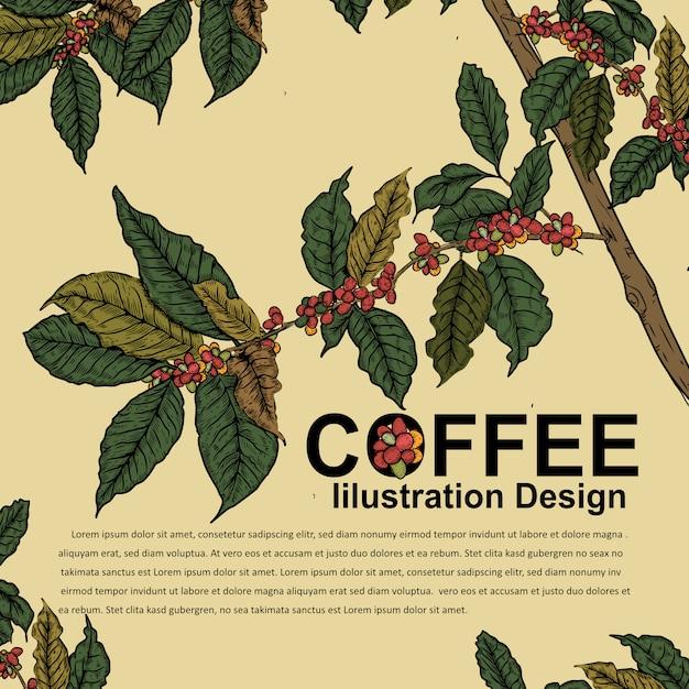 Disegno dell'illustrazione per il manifesto del caffè Vettore Premium