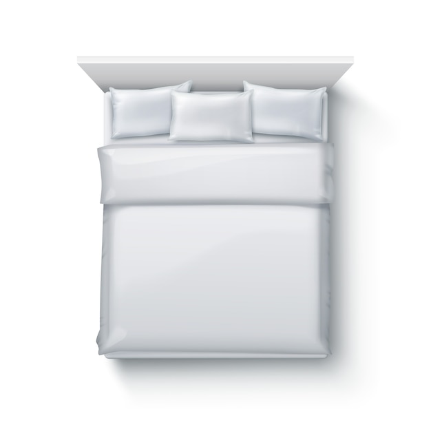 Illustrazione del letto matrimoniale con soffice piumone, biancheria da letto e cuscini su sfondo bianco, vista dall'alto Vettore Premium