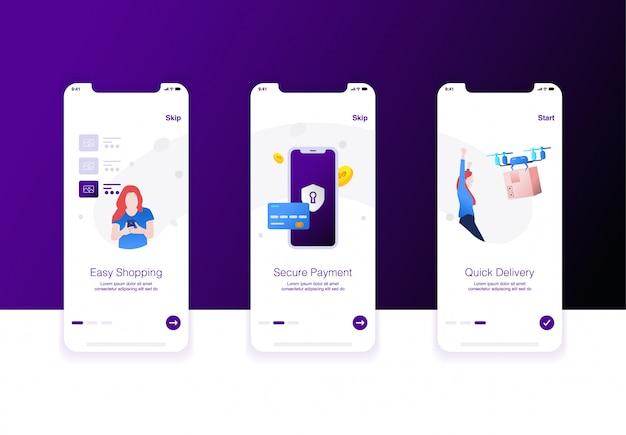 Illustrazione di e-commerce passo shopping facile, pagamento di sicurezza e consegna rapida Vettore Premium