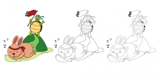 Illustrazione del gioco educativo per bambini e libro da colorare Vettore Premium