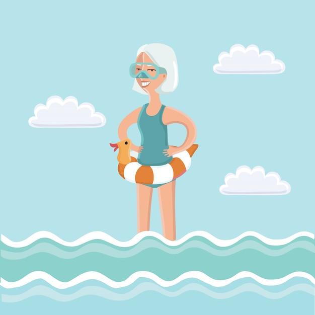 Illustrazione della donna anziana in piedi in acqua di mare con maschera subacquea sul viso e tubo di immersione in mano Vettore Premium
