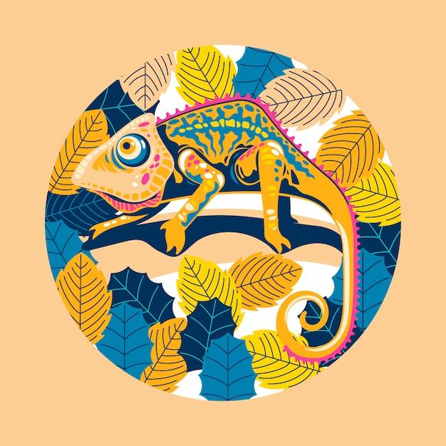 Illustrazione pelle di camaleonte esotico multicolore. Vettore Premium