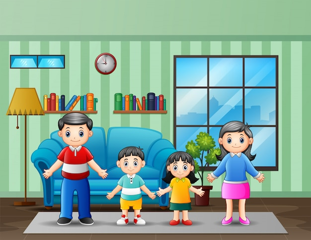Illustrazione di una famiglia in salotto Vettore Premium
