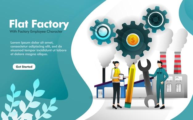 Illustrazione della fabbrica piana con la costruzione e l'impiegato Vettore Premium