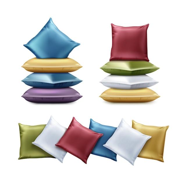 Illustrazione di cuscini colorati piegati. cuscino quadrato nei colori rosso, blu, verde, viola, giallo isolato su sfondo bianco. Vettore Premium
