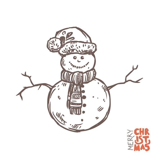 Illustrazione del pupazzo di neve divertente con il cappello di babbo natale e la sciarpa lavorata a maglia Vettore Premium