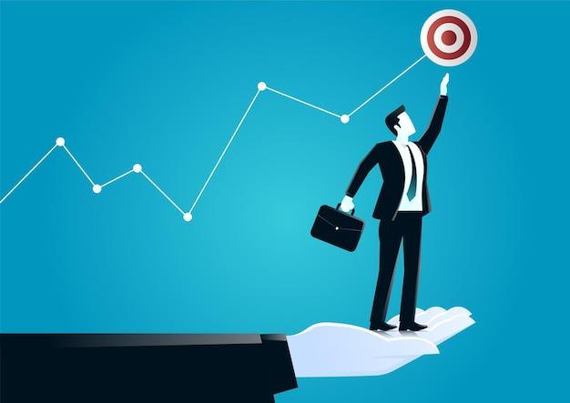 Illustrazione della mano gigante, aiutando un uomo d'affari a raggiungere l'obiettivo. descrivere la sfida e il target di business. Vettore Premium