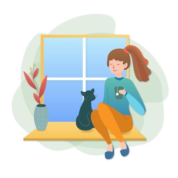 Illustrazione di una ragazza che beve tè e stare a casa con un gatto vicino alla finestra Vettore Premium