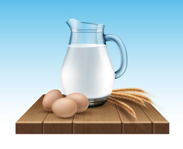 Illustrazione della brocca di vetro di latte con spighe di grano e uova su supporto in legno su sfondo blu Vettore Premium