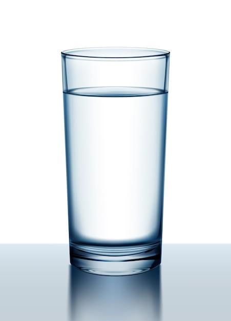 Illustrazione del bicchiere d'acqua con la riflessione sulla superficie Vettore Premium