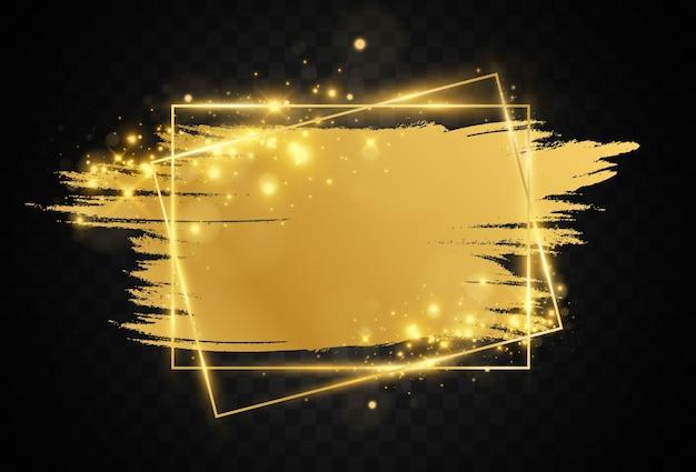 Illustrazione di una cornice dorata con una pennellata. Vettore Premium