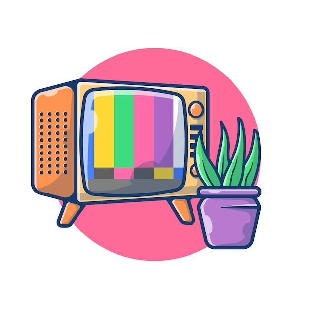 Grafico dell'illustrazione della televisione dell'annata nessun segnale. televisione e concetto di soggiorno della pianta. stile cartone animato piatto Vettore Premium