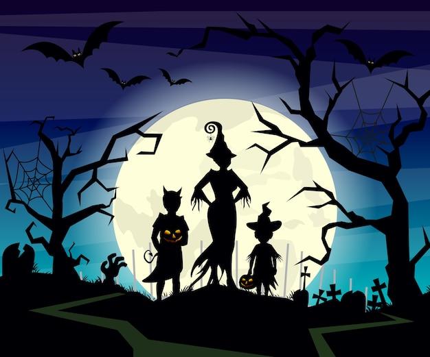 Illustrazione di sfondo di halloween con sagome di bambini trucco in costume di halloween sul cielo notturno blu scuro. cartolina di halloween in. Vettore Premium