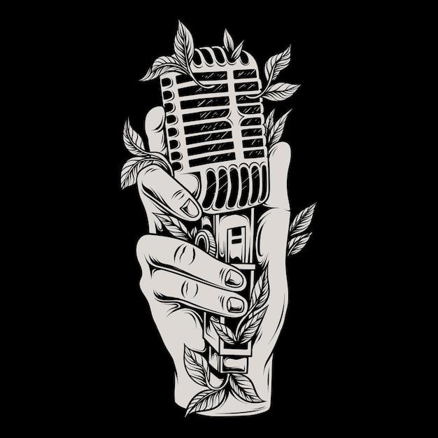 Illustrazione di una mano che tiene un microfono classico Vettore Premium